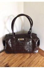 Osprey Dark Brown Leather Mock Crock Large Handbag BNWOT