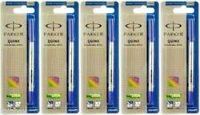 5 X Parker Quink Roller Ball Rollerball Pen Refills Blue Ink !! Medium Nib New !