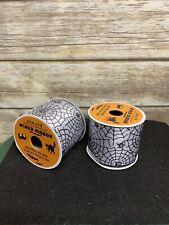 Spider Web Printed Halloween Ribbon Lot 2 Nwt