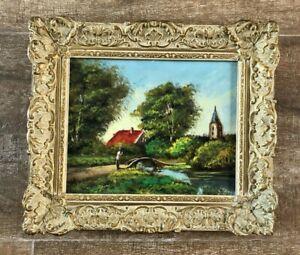 """Holland Vintage Tree landscape gilt frame oil painting 11 x 13"""" Pastoral village"""