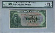 COLOMBIA NOTE BANCO DE LA REPUBLICA $50 ORO 1950-51  PK# 393 c PMG CHOICE UNC 64