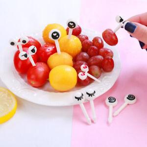 10Pcs wiederverwendbares Auge Mini Obst Gabel Zeichen Cartoon Kinder Essen PiBOD