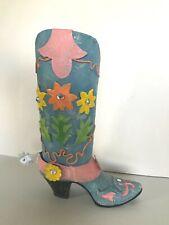 "New listing Cowboy Boot Blue Bling Flower Vase, 9"" Tall"