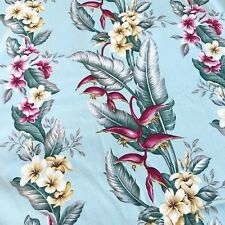 Hawaiian Print Barkcloth Plumeria ROBINS EGG BLUE Tropical Drapery Fabric Retro