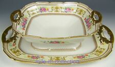 LIMOGES FRANCE ROSES FLOWERS FOOTED BOWL & TRAY