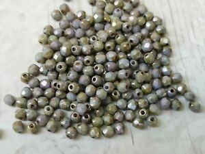 Czech fire polished small glass beads picasso grey 3 mm pack of 100