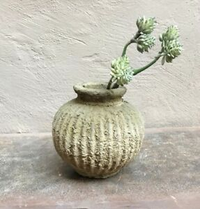 Rustic Ribbed Small Vase / Planter, Clay Concrete Textured Round Mirra Bottle