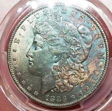 1886-P AU58 Morgan Silver Dollar $1, PCGS Graded AU, Rainbow Toned!