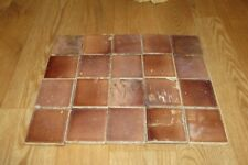 20 Vintage Antique 3 X 3 Glazed Amber Brown Fireplace Hearth Tile #1225