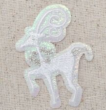 Iron On Embroidered Applique Patch Christmas White Reindeer Winter Wonderland