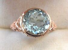 10k Rose Gold 3.37CT Bezel Set Round Faceted Cut Blue Aquamarine Filigree Ring