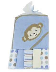 """""""Blue Monkey"""" Soft hooded towel With 5 Wash Clothes Gift Set For New Born babies"""