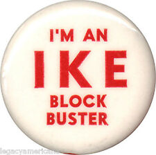 1952 Dwight Eisenhower IKE BLOCK BUSTER Campaign Volunteer Button (7307)