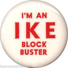 1952 Dwight Eisenhower IKE BLOCK BUSTER Campaign Volunteer Button (7307)