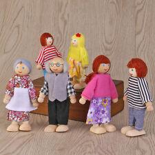 Wooden Möbel Puppen Haus Familie Miniatur 6 Personen Set Puppe Kinder Spielzeug