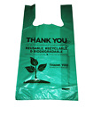 """100-Pack Thank You Plastic Bags, Grocery Bags, 1/6 Size 12""""x22"""" Biodegradable"""