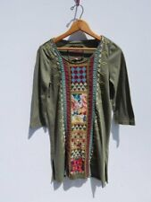 JOHNNY WAS ~ Olive Green Cotton Embroidered Raw Hem Long Tunic Top ~ XS