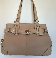 Coach 13236 Carly Satchel Handbag In Ivory Genuine Leather & Silver Shoulder Bag