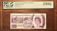 1979 St Helena 50 Pence Banknote, P-5a, PCGS 67 PPQ SUPERB GEM UNC RARE GRADE
