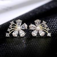Exquisite White Sapphire Flower Stud Earrings 925 Silver Women Wedding Jewelry