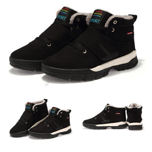 Mens Winter Warm High Top Boots Casual Sneakers Leather Anti-slip Outdoor Hiki
