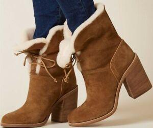 UGG Womens JERENE Sheepskin Fur Lined Heeled Boots Chestnut Brown Sz 12 - NWOB