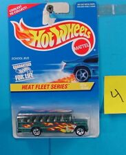C4 HOT WHEELS HEAT FLEET SERIES SCHOOL BUS WITH FLAMES #538 NEW ON CARD