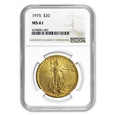 1915 $20 Saint-Gaudens Gold Double Eagle MS-61 NGC