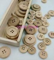 50 Pcs Wooden Button Natural Color Round 4-Holes Sewing Scrapbooking DIY Buttons