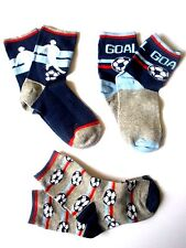 NEW 3PK FOOTBALL DESIGN KIDS TRAINER SOCKS SIZE C9-C12 COTTON RICH CHILDREN SOCK