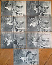 GROUP OF SEVEN 1906 French Fantasy Postcards: Boy Fishing in Goldfish Bowl