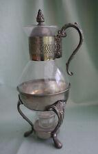 Stövchen Karaffe Glas versilbert Teekanne Kaffeekanne Wasser