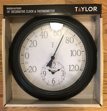 """Brand New In Box - Taylor Indoor/Outdoor 14"""" Decorative Clock & Thermometer"""