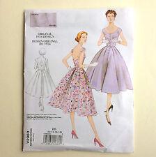 New 50s Dress Pattern 2960 Vogue Vintage Uncut 12 14 16 18 34 36 38 40 fit flare