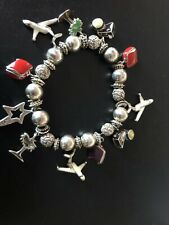 Vacation Themed Charm Bracelet -Camera-Plane-Suitcase-Palm Tree- I Wish Star