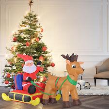 HOMCOM Inflatable Santa Claus with Sled and Reindeer Xmas Décor LED Lights