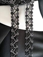 Silver Black Swirl Gimp Braid Bordure En Dentelle Ruban Garniture Costume - (TR0033) W2cm