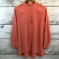 Soft Surroundings Popover Top Coral Modal Long Sleeve Blouse Women Medium Petite