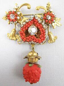 Beautiful Miriam Haskell Red Glass Strawberry Bead Rhinestone Pin