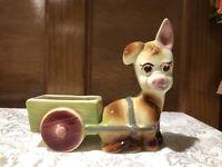 Vintage Shawnee ceramic donkey cart planter dish