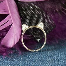 Everyday Jewelry Cute 925 Sterling Silver Stackable Cat Ears Adjustable Ring