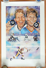 BOBBY HULL & BRETT HULL SIGNED AUTOGRAPH AUTO PRINT POSTER 50 GOALS 24X36 #/1609