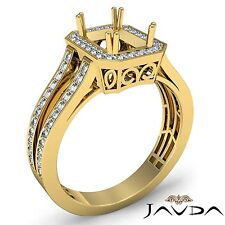 Emerald Semi Mount 14k Yellow Gold Diamond Engagement Halo Filigree Ring 0.92Ct