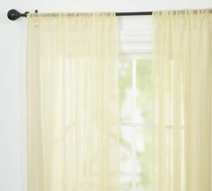 """Classic Voile Rod Pocket Sheer Curtain 50 x 96"""" Ivory"""