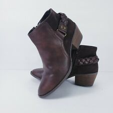 Womens American Eagle Outfitters Leather Maroon Brown Ankle Booties  Sz 6
