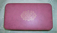 """Vintage FARRINGTON Small Rose Pink TEXOL Jewelry Box 7"""" x 4"""" with Dividers"""