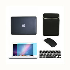 """5in1 Rubberized BLACK Case for Macbook White 13"""" + Keyboard Cover+LCD+Bag +Mouse"""