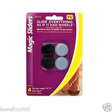 "MAGIC SLIDERS 7/8"" x 1"" round (4 Pack) Grip Tip Floor Slide # 04225  NEW!"