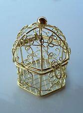 Mini-cage oiseaux en métal doré. Contenant pour dragées