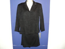 Alyn Paige Size 13/14 Large Jacket Skirt Suit Black Polyester Rayon Made in USA